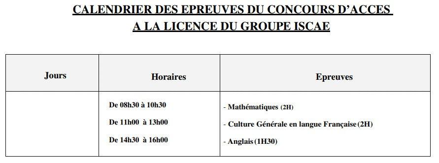 inscription concours ISCAE 2020-2021